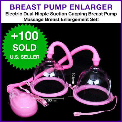 Xisheep??Shipped from the United State Breast 2 Cups System Breast Enlargement Massager Breastfeeding Suction Pump Home Other Clear