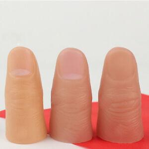3Pcs Fun Fake Soft Thumb Tip Finger Magic Prank Trick Close Up Vanish Prop Toys