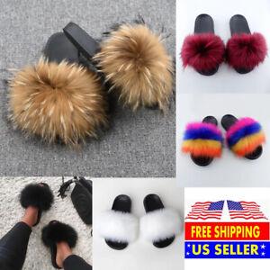 Faux Fur Slides Fuzzy Fluffy Slippers Flat Soft Sandals Open Toe - US Seller