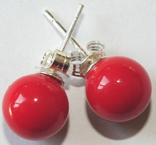 W6-07/_6 mm muschelkern pendientes 925 plata rojo