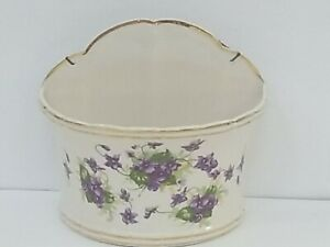 Vintage Kaolena Wall Planter Purple Pansy Design - Rare Pottery -  USA