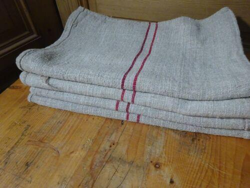 Antique European Feed Sack GRAIN SACK Red Stripes  # 10420