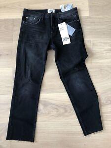 eafbd2acd554 Details about BNWT Women Zara Size EUR 38 Straight Leg Low Rise Ankle  Length Black Jeans