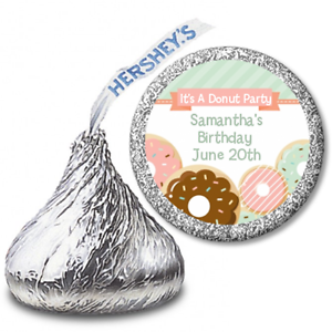Personalized Hershey Kiss Baby Birthday Party Sticker Label Donut Party