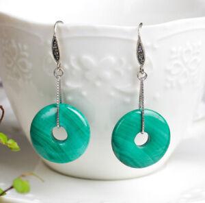 T03 Ohrringe Reifen Kreis aus Jade grün 925 Sterling Silber