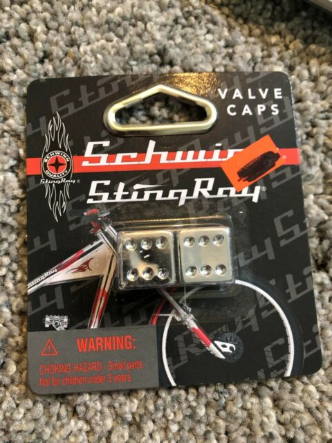 Schwinn Stingray Orange County Chopper bmx valve caps Dice NOS Chrome Bicycle