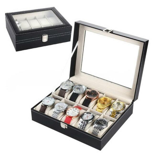 6 10 12 20 24 Slot Leather Watch Box Display Glass Top Jewelry Case Organizer MT