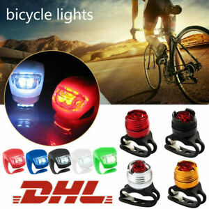 1X Fahrrad Rücklicht Lampe Fahrradlicht LED Silikon Vorne Hinten Beleuchtung NEU