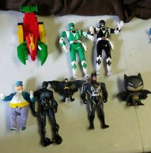 Vintage Batman Power Ranger Action Figure Lot De 7 & 1 Voiture-afficher Le Titre D'origine Facile Et Simple à Manipuler
