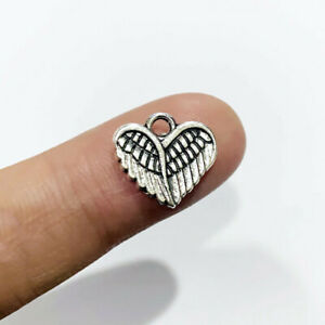 BULK 30 Angel Wing Heart Charms Antique Silver Tone SC6133
