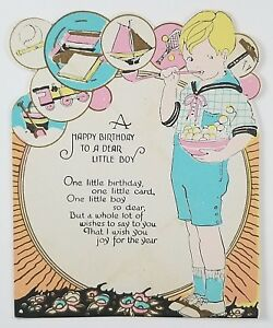 Image Is Loading Vintage Birthday Greeting Card To A Little Boy