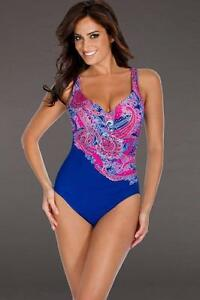 5324c1725e4b3 MIRACLESUIT AMICI BLUE PAISLEY 1 PCE MIRACLE SWIM SUIT SWIMMING ...