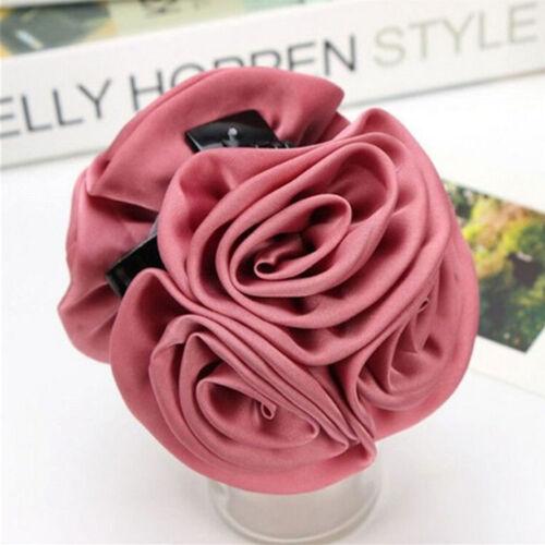 JP/_ Korean Womens Chiffon Rose Flower Bow Jaw Clip Barrette Hair Claw Accessor