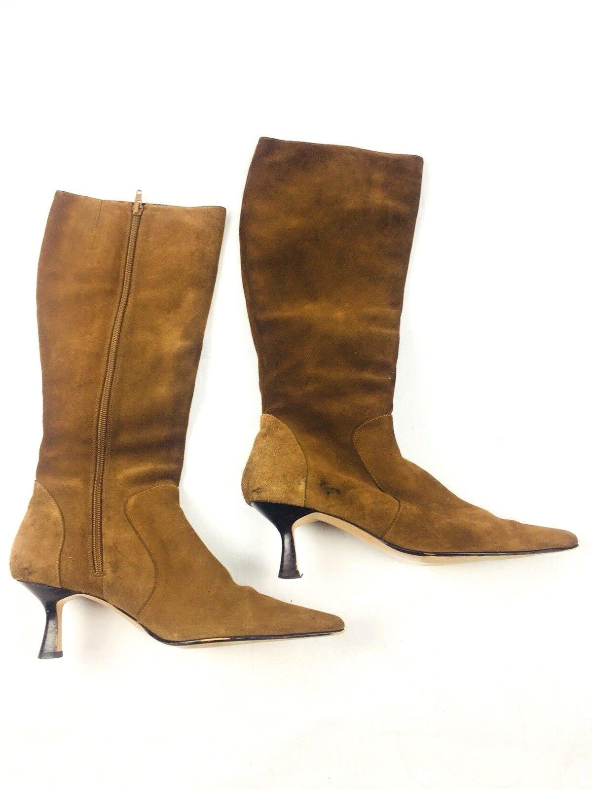 Pazzo Women's Boots 7 1/2 M Point Toe Heel Zip Up Brown Leather Upper