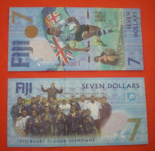 PCS Fiji 2017 TWENTY-FIVE $7 Seven Dollars Notes 2016 Gold Olympians UNC 25