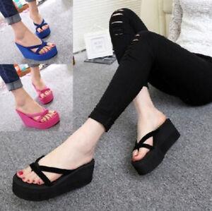 Damen-Schuhe-Sandalen-Flip-Flops-Keilabsatz-Strand-Zehentrenner-Wedge-Sommer-FL