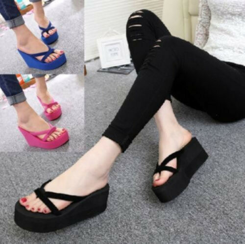 Damen Sandalen Flip Flops Schuhe Zehentrenner Wedge Platform Slippers Eu 35-43