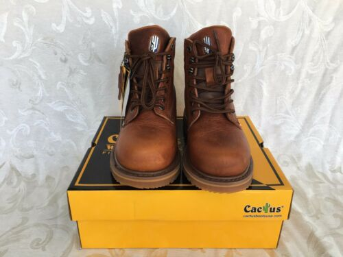 """Cactus Men Brown 6/"""" Leather Work Boots Oil Resistant 6714 Sizes Comfort Fit"""
