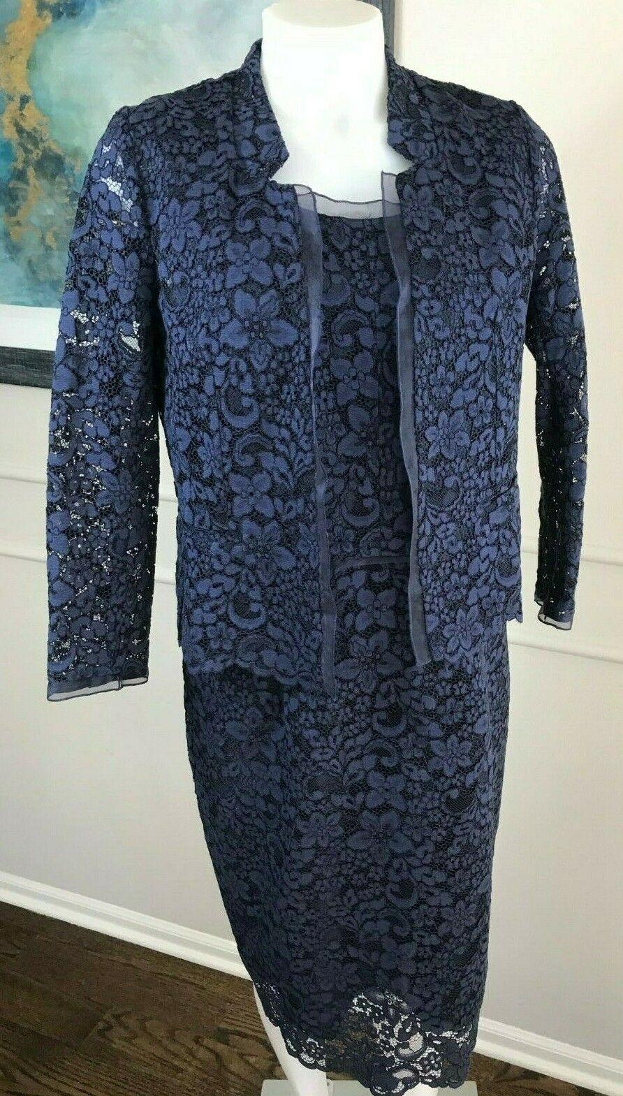 Gerard Darel Woman's 2 PC Dress Jacket Lace Navy Blau    Sz 38 42  BEAUTIFUL