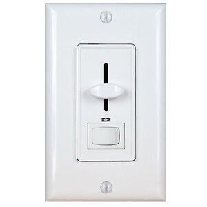 Decorator Slide Wall Dimmer Light Switch 3Way White Knob Cover