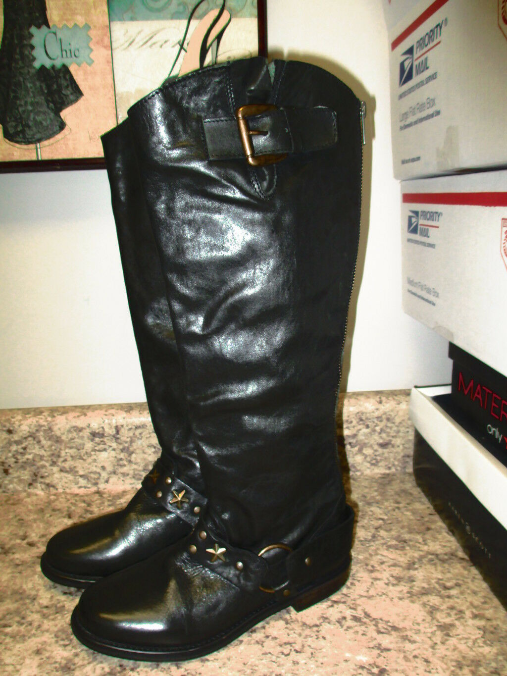 Betsey Johnson Leigh Riding Boots 6 M Black Leather  New Floor Sample