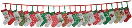 Traditional Christmas Stockings Bunting Advent Calendar Quilting Panel Fabric