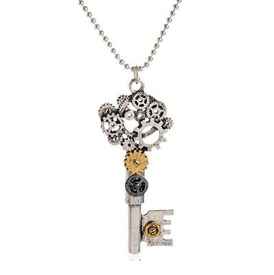 silber NEU Kette Schlüssel Steampunk