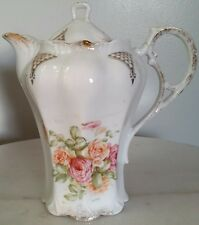 Antique R.S. Prussia Chocolate /Tea Pot White With Roses and Gold