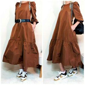Zara-Woman-Midi-Ruffles-Taffeta-Voluminous-Dress-Size-S