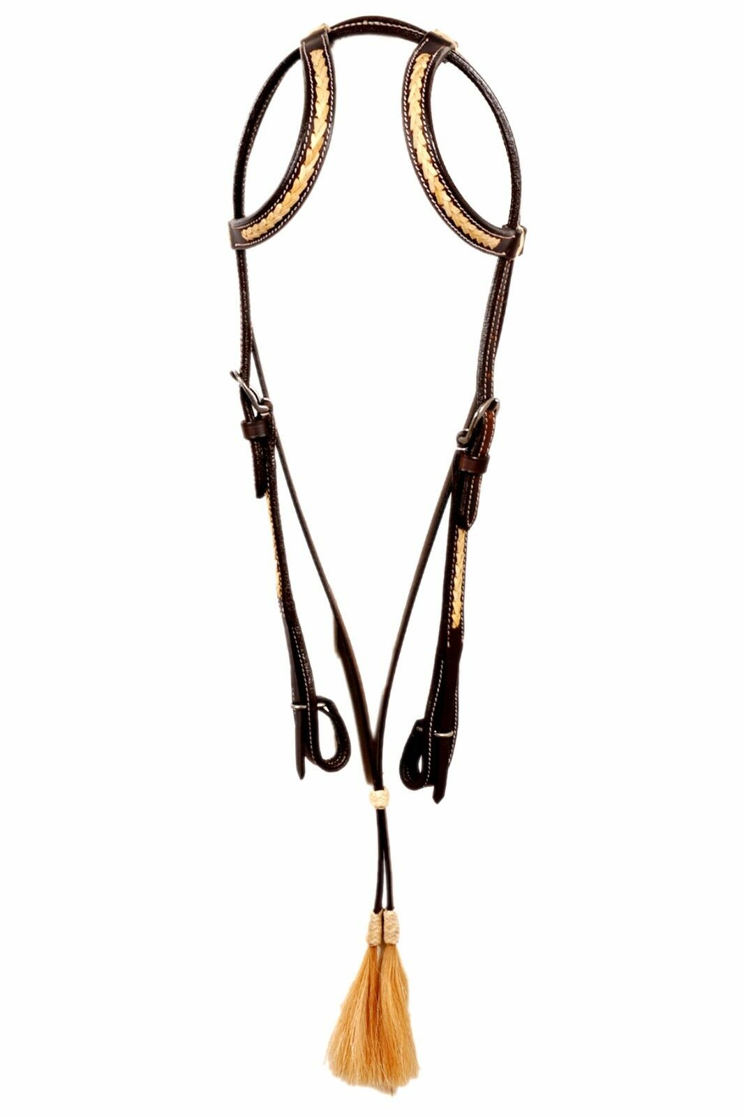 Western Dark Oil Leather Two  Ear Style Rawhide Weaved Headstall With Tassel  general high quality