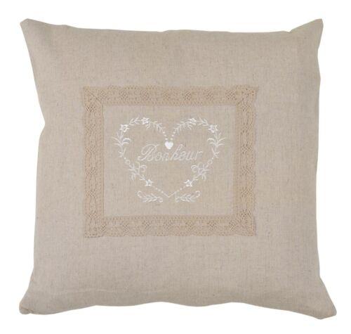 Clayre /& Eef almohada funda de almohada funda corazón häkelborde lino Shabby Chic Brocante