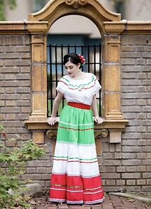 Womens One Size Fits Most Top Skirt Dress Mexican Folkloric Fiesta Dance New Ebay