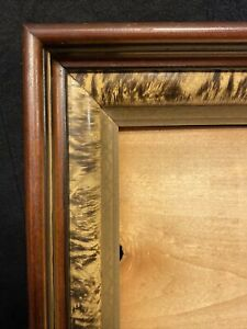 """Antique Victorian Deep Well Wood Frame  Faux Tortoise  Gold Gilt Holds 10"""" X 12"""""""