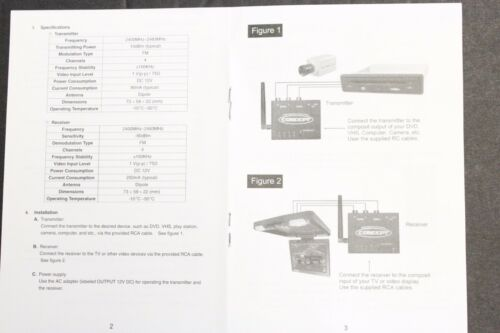 RECEIVER 2.4GHz Wireless Audio Video AV  Receiver 4CH W//remote RV TRUCK CAR12v