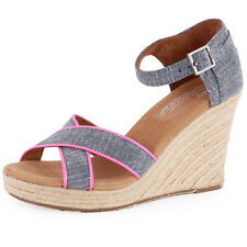 Toms Strappy Wedges Womens Wedge Sandals Textile Chambray New Size 4 UK