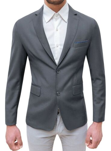 Jacke Herren Elegant Grau Slim Fit Blazer Zeremonie mit Clutchbag Tasche