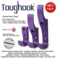 Coat Hooks for Schools SAFE & SUPER STRONG Plastic TWIN PACK Choose from 3 sizes