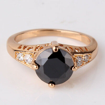 18k gold filled black sapphire crystal Solitaire charm lady ring Sz5-Sz9
