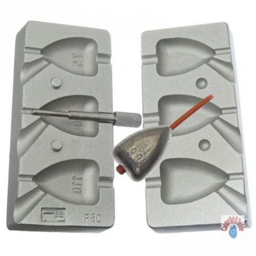 Aluminium mould for 3 Flat Heart Dumpy weights 75,90,110 g  Bolt Rig Style CB80