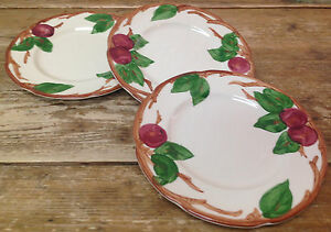Franciscan-Red-Apple-Green-Leaves-USA-China-3-Salad-Dessert-Plates-Vintage-Leaf