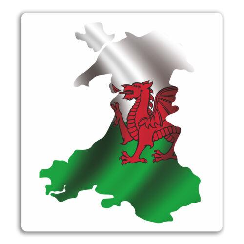 Flag Welsh Fun Sticker Laptop Luggage #18096 2 x 10cm Wales Map Vinyl Stickers