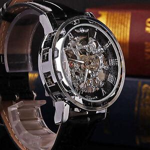 Classic-Men-039-s-Black-Leather-Dial-Skeleton-Mechanical-Sport-Army-Wrist-Watch