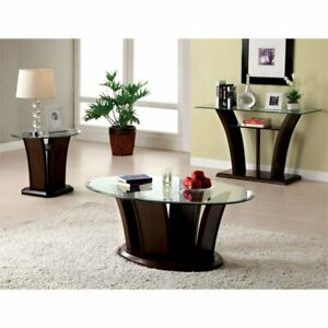 Details About Furniture Of America Lantler 3 Piece Coffee Table Set In Dark  Cherry