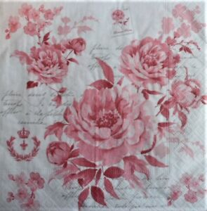 4 x Paper Napkins for Decoupage Crafting and Table Rose Pattern 139