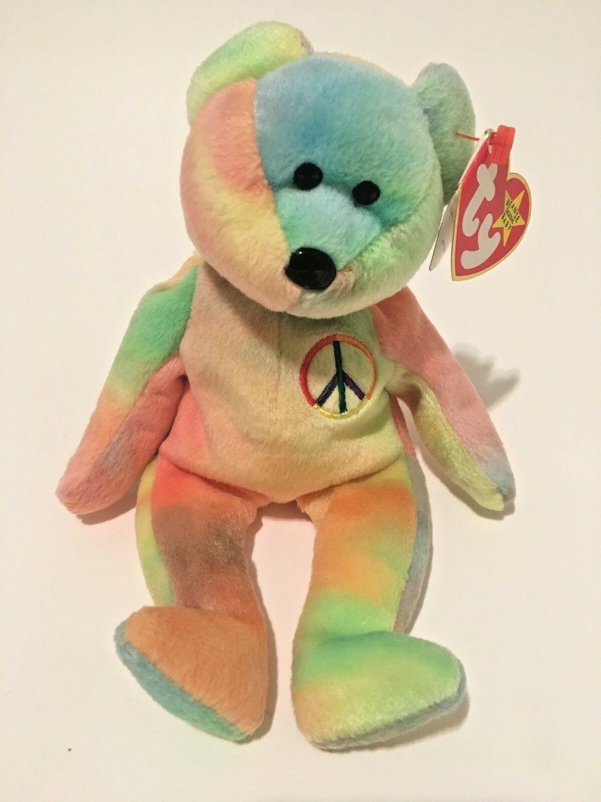 Peace (1996) Ty BeanieBaby Bear. PE Authentic Super-Rare Retired