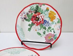 Pioneer-Woman-Salad-Plates-Set-of-2-Country-Garden-Floral-8-5-in-Red-Trim-NWT