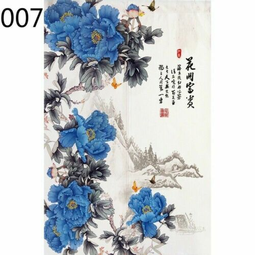 Noren Doorway Curtain Chinese Peony Cotton Linen Drapes Room Divider Blind Retro