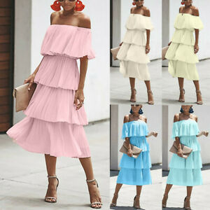 Fashion-Women-Chiffon-Off-Shoulder-Ruffles-Solid-Evening-Party-Layered-Dress-New