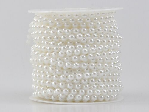 5 Meters Acrylic Flatback Pearl Bead 6mm Chain Garland Trims Wedding Bouquet