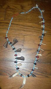 URARINA PERU AMAZON INDIAN BEAD, CLAW AND TEETH NECKLACE